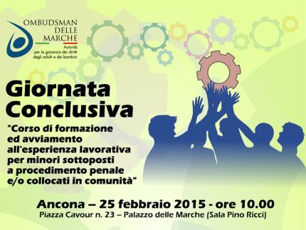 Locandina dell'iniziativa dell'Ombudsman delle Marche per i minori in comunità
