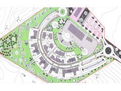 Nella foto: in grigio le nuove costruzioni, come da carte del progetto di edificazione della collina del Pizzardeto a Loreto