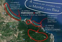locandina dell'evento di pulizia della spiaggia a Portonovo e le altre località doriche