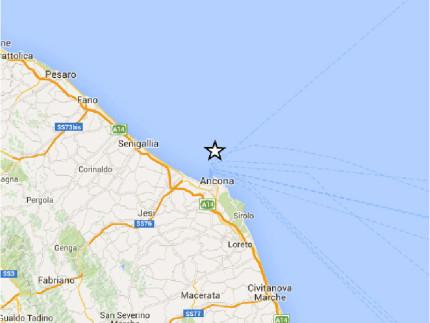 Mappa terremoto 1° ottobre 2015 al largo di Ancona