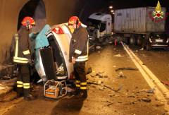 La scena dell'incidente mortale avvenuto l'11 marzo 2016 sulla ss76 a Serra San Quirico