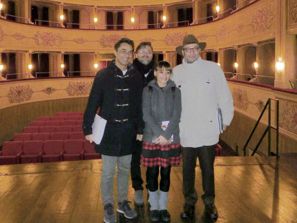 Riaperto il teatro Misa di Arcevia: da sinistra Moreno Pieroni, Andrea Bomprezzi, Laura Coppa, Fabrizio Giuliani