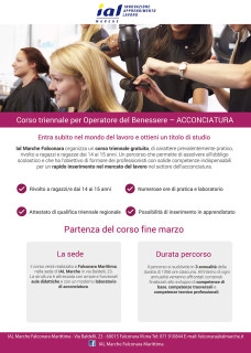 Corso triennale gratuito operatore del benessere: indirizzo acconciatura presso IAL Marche