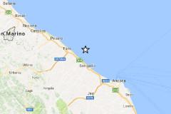 La mappa della scossa di terremoto registrata a largo della costa marchigiana tra Fano e Senigallia il 26 maggio 2017