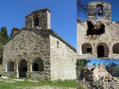 La chiesa di Santa Maria in Pantano di Colle di Montegallo, prima del terremoto, dopo il terremoto del 24 agosto 2016 e dopo il sisma del 30 ottobre 2016