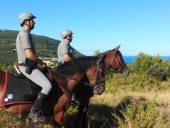 Pattuglia dei Carabinieri Forestali a cavallo in servizio sul Monte Conero, ad Ancona