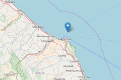 La mappa della scossa di terremoto a largo di Ancona del 25 settembre 2017