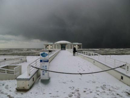 Rotonda a Mare di Senigallia sotto la neve