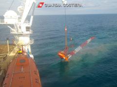 Operazioni di recupero della gru crollata dalla Piattaforma Eni Barbara F