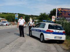 Posto di blocco della Polizia Locale a Falconara