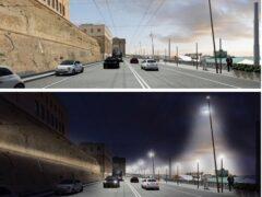 Rendering della nuova illuminazione della zona litoranea ad Ancona